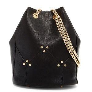Pink Haley : NWT Maisie Chain Bucket Bag in Black